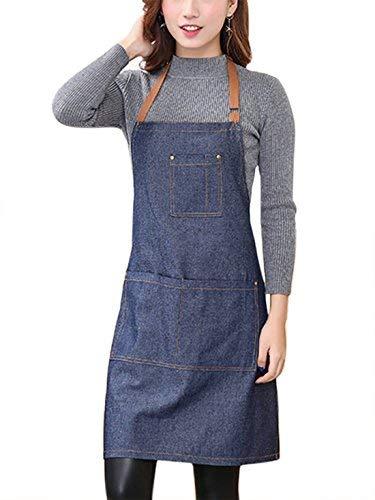 Aivtalk Kochbegeisterte Frauen Schürze Baumwolle Denim Kochschürze Küchenschürze Grillschürze Latzschürze Ärmellose Damen Schürze mit Taschen 71*65cm Denim Blau