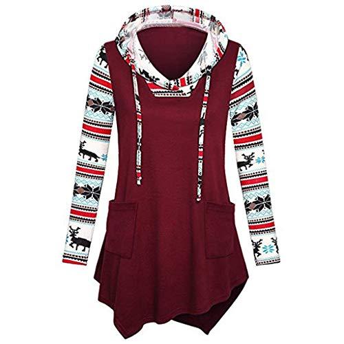 Maglione Natale Donna Stampa Piumino Casual Pelliccia Cappotto Donna Maglione Camicia Piumino Manica Lunga Sta Qinsling