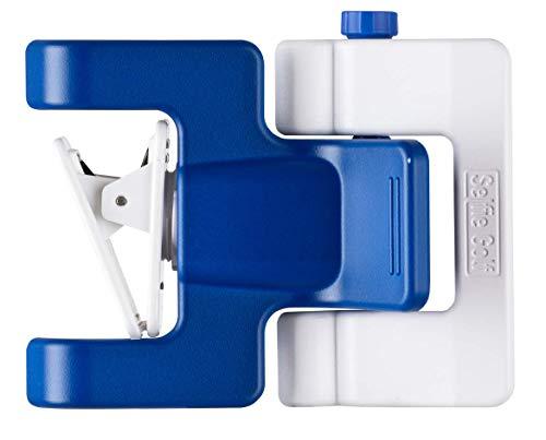 Selfiegolf record golf swing cell phone clip holder e training aid accessori per il golf | vincitore del miglior prodotto pga, quick set up (blu-bianco)