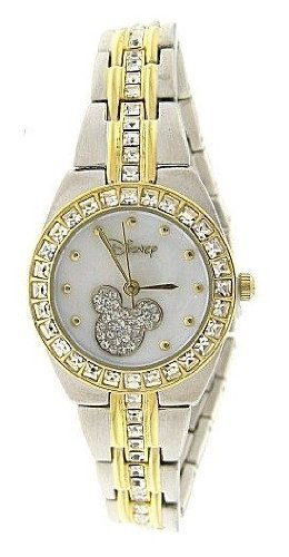 Armbanduhr Disney Mickey Mouse MK2042 Mop-Zifferblatt zweifarbig Strass Armband Armbanduhr
