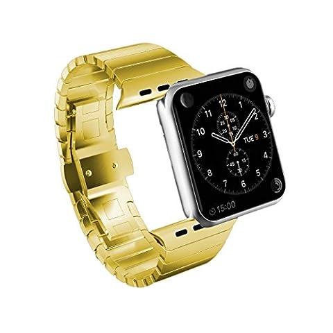 Spritech(TM) Bracelet de remplacement Elegance en acier inoxydable Fermeture Papillon accessoire de remplacement iWatch pour Apple Watch, or