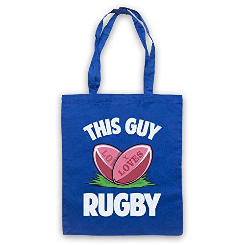This Guy Loves Rugby Rugby Slogan Umhangetaschen Blau