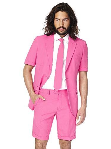 Opposuits Flaminguy Anzug für Herren besteht aus Sakko, Hose und Krawatte, Mr. Pink, 56 (Rosa Anzug Hose)