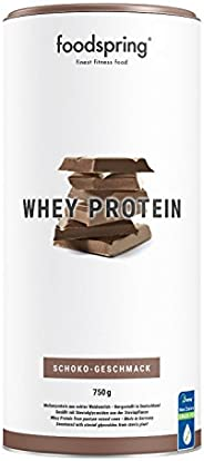 foodspring Proteína Whey, Sabor Chocolate, 750g, 100% proteína de suero de leche, Proteína en polvo para el de