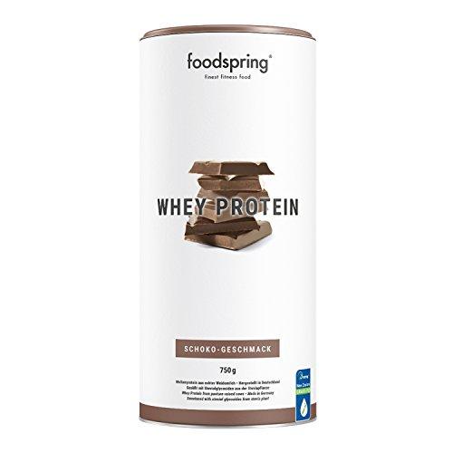 foodspring Whey Protein Pulver, 750g, Schokolade, Eiweißpulver zum Muskelaufbau, Hergestellt in Deutschland mit sorgfältig ausgewählten Rohstoffen (Proteine Pulver)