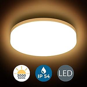 B.K.Licht I LED Deckenleuchte I spritzwassergeschützt IP54 I 13W LED Platine I 3.000K warmweiße Lichtfarbe I Ø22cm I…