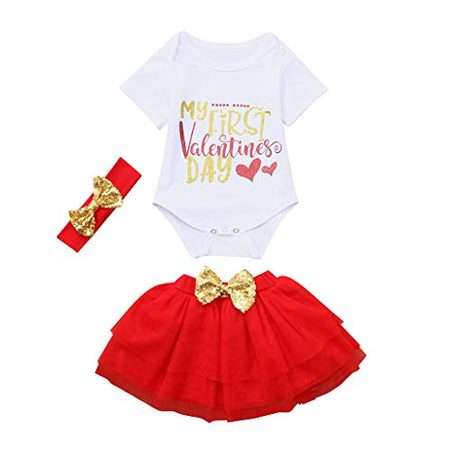 Strampler Mädchen Brief Tops + Tutu Röcke Valentine Outfits Set Prinzessin Kleid Mädchen Party Kleid Kinder Overall Suit ABsoar ()