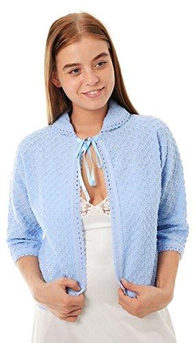 Damen Strickbolero mit Schleife auf der Vorderseite, 3/4-Ärmel, erhältlich in den Farben Rosa / Blau / Grün und den Größen 34-52 Blau - Blau
