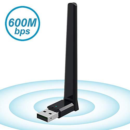 BrosTrend AC5 AC600 High Gain Dualband USB WLAN-Adapter (bis zu 433 Mbit/s auf 5GHz und 150 Mbit/s auf 2,4GHz), Kompatibel mit Windows 10/8.1/8/7/XP