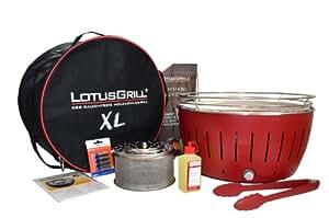 LotusGrill XL Rot inkl Tasche + 2,5 kg Holzkohle + Brennpaste 200ml + Grillzange