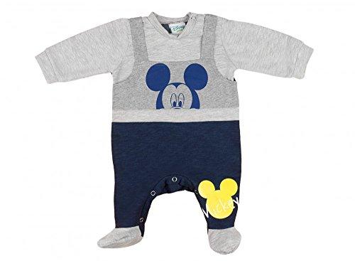 (Jungen BABY-STRAMPLER mit Füßchen GEFÜTTERT von Mickey Mouse in GRÖSSE 56, 62, 68, 74, Latzhosen-Design, Baby-Schlafanzug LANG-ARM mit Druck-Knöpfen, Spiel-Anzug für Neugeborene Farbe Grau, Größe 56)
