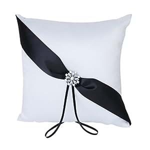 Coussin Oreiller Porteur de l'Anneau de Mariage avec Décoration de Strass 20cmx20cm - Blanc et Noir