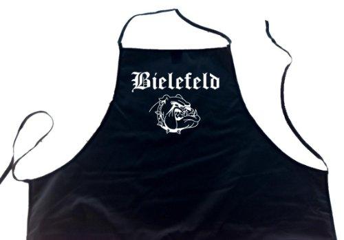 ShirtShop-Saar Bielefeld (Bulldogge/Hund); Städte Schürze (Latzschürze - Grillen, Kochen, Berufsbekleidung, Kochschürze), schwarz