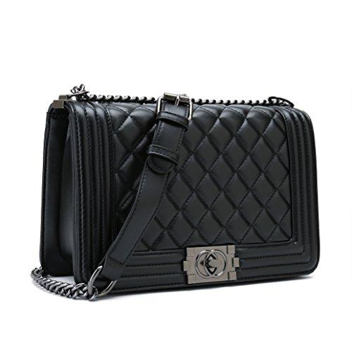 Belle Vannes Damen Designer Gesteppte Schultertasche aus Leder mit Kette Tasche Umhängetasche Damentaschen Handtasche (Groß, Schwarz) -
