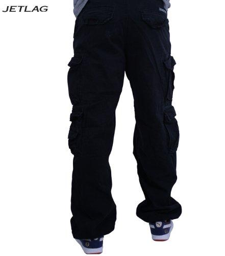 Jet Lag 007Pantalon cargo pour homme Coupe large Avec cordon pour clés Fabfive Camo Noir - Noir