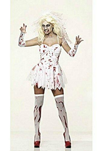 alloween Kostüm + GRATIS Schleier - Damen 36-38 (Halloween Braut Kleid)