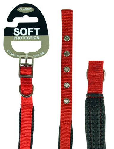 Rosewood 38541 klassisches Soft Protection Hundehalsband, Halsumfang: 66cm, Breite: 25mm, rot