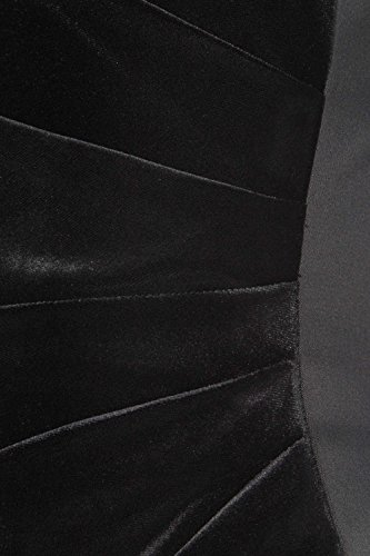 Roman Originals - Robe Femme Contraste Velours et Satin Plissée - Noir Noir