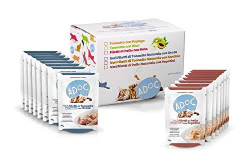 ADOC Cibo Umido per Gatti con Ingredienti Naturali al 100% - Multipack da 16 Buste da 70 Gr con Tonno e Orata e con Pollo e Fegatini - 16 Buste