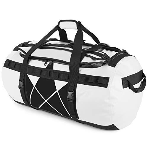 The Friendly Swede Reisetasche Duffle Bag - Duffel Bag Rucksack 30L/60L/90L - Sporttasche Travel Bag - Rucksackfunktion - SANDHAMN (Weiß, Kronenprint 90L)