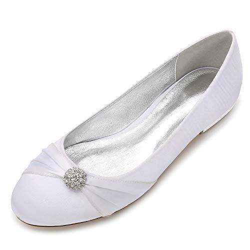Zxstz scarpe da donna satin comfort ballerina scarpe da sposa tacco piatto punta tonda strass fiore di raso, bianco, 39