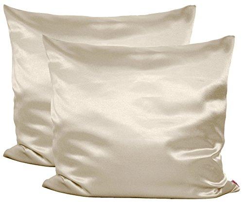 beties Paket mit 2 x Glanz Satin Kissenbezug 80x80 cm anschmiegsam & edel 100% Polyester in 4 Größen (Champagner) (Satin Kissenbezug Echtes)