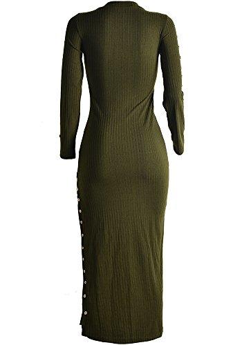 Robe En Tricot Chaud Longue Pull Veste Manteau En Maille Femme Vert Foncé