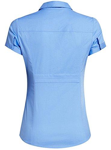 oodji Ultra Femme Chemise Col en V Rabattu Bleu (7500N)