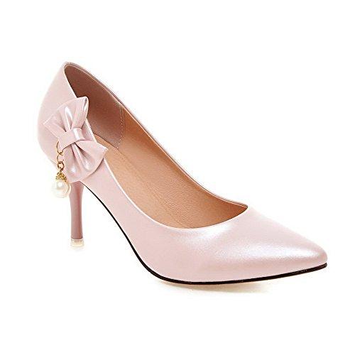 AgooLar Damen PU Stiletto Spitz Schließen Zehe Ziehen auf Pumps Schuhe, Pink, 31