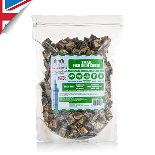 SKIPPER'S Fisch Hundesnack |100% Natürliche Fischhaut Würfel Mega-Wert 1kg| Natürlich Zuckerfrei | Getreidefrei Hochwertige | Und natürlich enthaltene Öle (SMALL) -