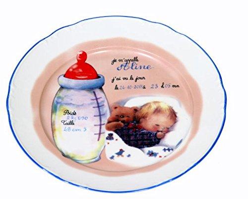 Assiette naissance - Personnalisé - Décor Biberon