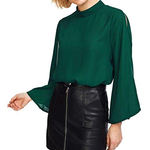 UFACE Spitze Kragen Kopf Langarm Top Colorblock Langarm Shirt FedergesäUmtes Longsleeve Shirt Off Shoulder (M, Stil 5 -Grün) (Colorblock-leder-jacke)