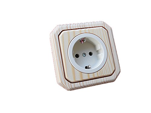 Holzschalter Lichtschalter/Steckdosen Holz Fichte roh (unbehandelt) 1-fach Steckdose Topf beige