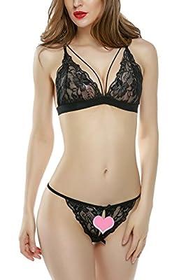 Avidlove Women Sexy Lingerie Set Deep V Bra Full Lace Thin Bralette and panty