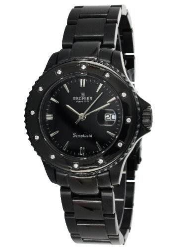 Régnier Semplicita R1320 Ladies Black Stainless Steel Diamonds Bezel Strap Watch 2080212