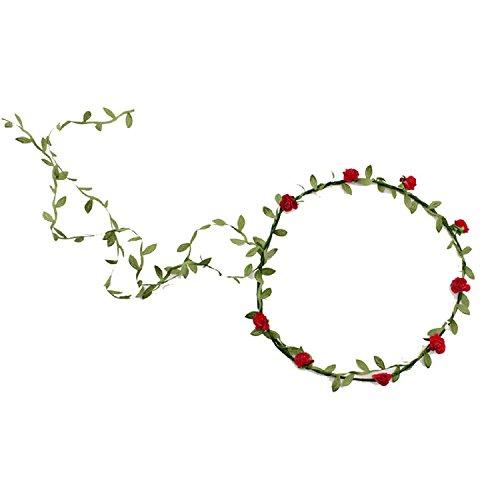 TOOGOO(R)Guirlande Florale Fille Femme Fete Mariage Boho Bande de Cheveux Rouge