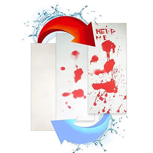Transer_Home/ kitchen Halloween Duschwanne Mat Badematte Blutige Farbwechsel Blatt Dreht rot nass Bleeding Abdrücke Perfekte Plüsch Matten für Wanne, Dusche, Bad