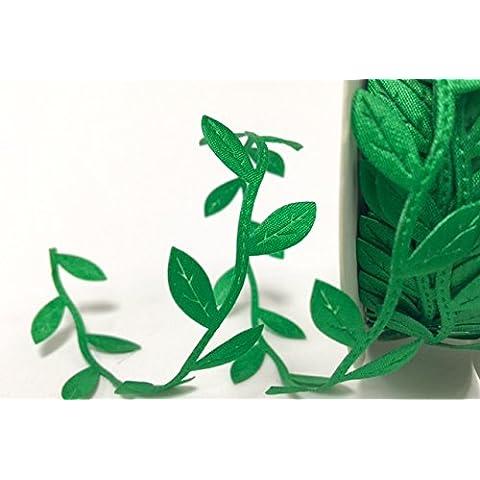 Verde con finiture Delicate foglie, nastro satinato su 2 m (N.B.: questo è un taglio da un rotolo)