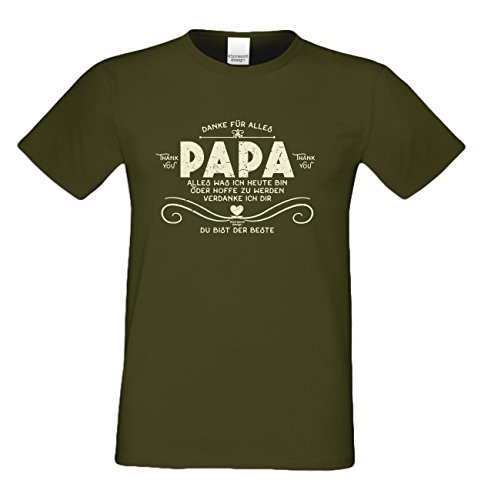 Vatertags T-Shirt - Danke Papa - Du bist der Beste - cooles Shirt mit lustigem Spruch als Geschenk für den Vater Khaki