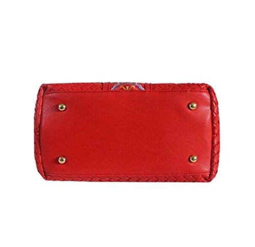 Handgefertigte Wickeltasche Schulter Messenger Bag Handtasche Gürtel Ribbon Niet Kleine Quadratische Tasche Lock Red