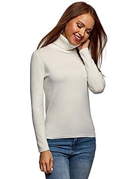 oodji Ultra Mujer Jersey con Cuello Texturizado