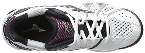 Mizuno Wave Tornado 9 Large Synthétique Baskets White-Black-Pink