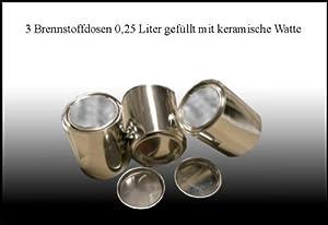Lieferumfang:  - 3 Brennstoff-Dosen (gefüllt mit keramischer Watte)   - Material: Weißblech  - Volumen: je 0,25 Liter  - Durchmesser: 7,5 cm  - Höhe: 7,5 cm   Vorteile bei der Verbrennung mit keramischer Watte:  - geringerer Ethanol-Verbauch  - gleic...