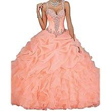 Engerla Mujer Correas cuentas Pearl Sheer diseño cascada de novia quinceañera de organza vestido
