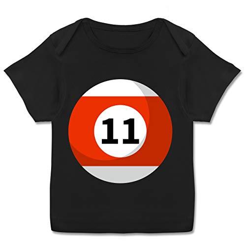 Karneval und Fasching Baby - Billardkugel 11 Kostüm - 56-62 (2-3 Monate) - Schwarz - E110B - Kurzarm Baby-Shirt für Jungen und Mädchen (Elf Kostüm Baby Jungen)