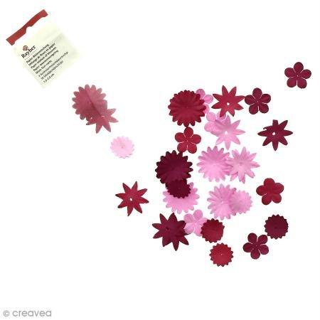 Rayher Hobby 7895518 Papier-Blütenmischung, Versch. Größen, 1,5-2,5 cm, 4 Sorten, SB-Tube 36 Stück, Rosé-/Rottöne, Streublüten, Blütenköpfe, Streudeko Blumen (Blütenblätter Stanze)