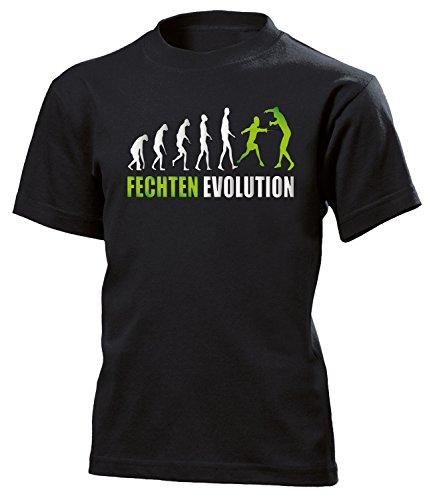 love-all-my-shirts Fechten Evolution 552 Kinder T-Shirt (K-SW-Weiss-Grün) Gr.164