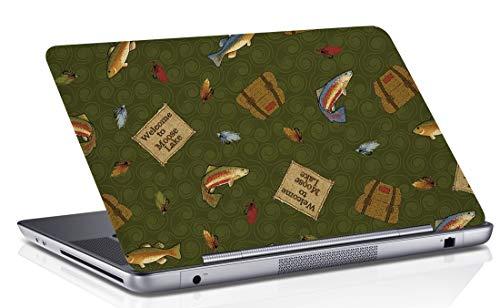RADANYA Fisch Digital Bedruckt Laptop Haut Abdeckung Grün Kunst Aufkleber Passt 14,1 Zoll Bis 15,6 Zoll