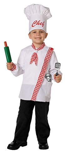 ,Karneval Klamotten' Kostüm Kinderkostüm Kochkostüm Chefkoch Kind inkl. Kochmütze + Spielzeug Kochzubehör Größe: 110 - 128, 4 - 8 Jahre