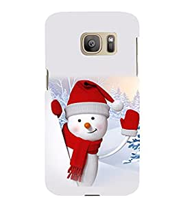 printtech Snowman Christmas Back Case Cover for Samsung Galaxy S7 edge :: Samsung Galaxy S7 edge Duos with dual-SIM card slots